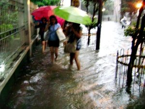 walking with my classmates in the knee high flood waters